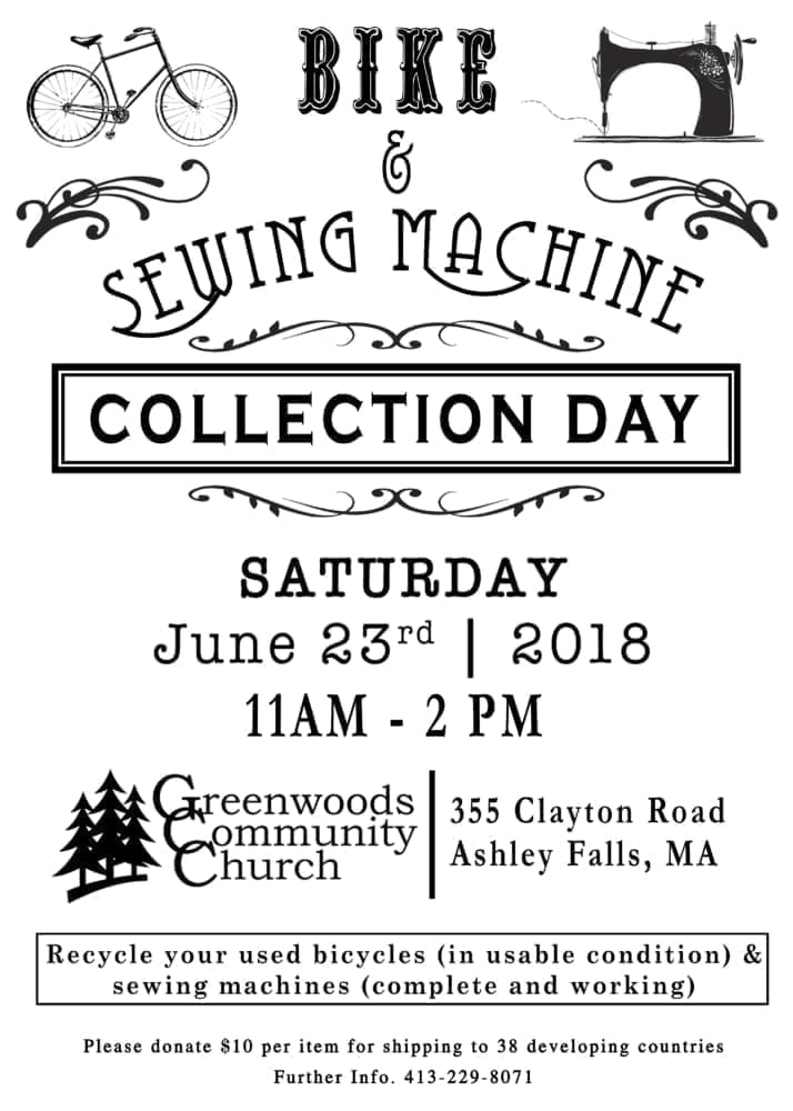 Bike & Sewing Machine Collection Day @ Greenwoods Community Church | Sheffield | Massachusetts | United States