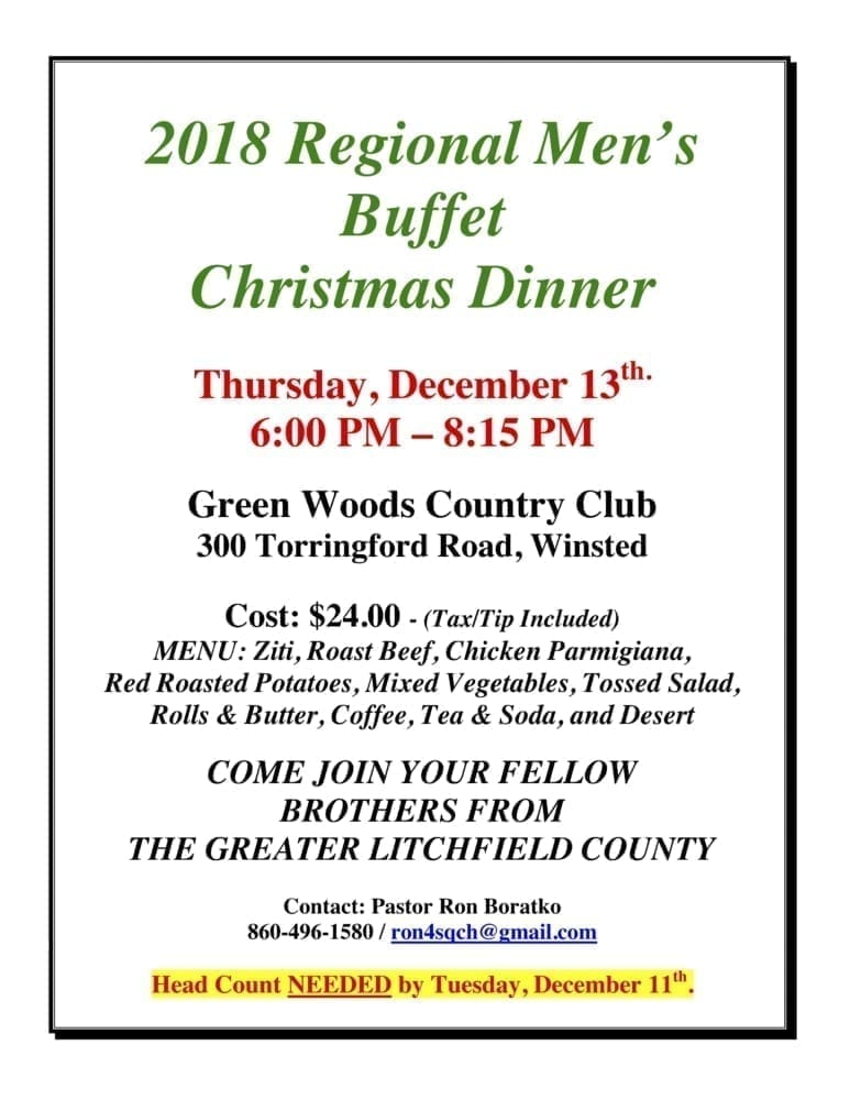 Men's Regional Christmas Dinner @ Green Woods Country Club | Winchester | Connecticut | United States